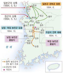 제2차 동학 농민 운동 전개도 (출처: 비상교육 한국사 교과서 p215. 2009 개정 교육과정)